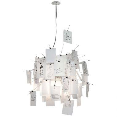 zettel 39 z 6 31 5 in white paper chandelier by ingo maurer stardust. Black Bedroom Furniture Sets. Home Design Ideas